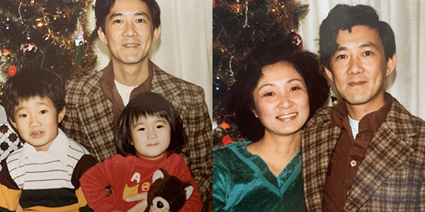 Ming Wang with his children Ping Wang and Anne Peterson in the photo on the left. Wang with his wife Lu Wang in the photo on the right.