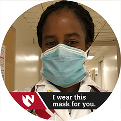 "Infectious diseases expert Jasmine Marcelin, MD, with the ""I wear this mask for you"" Facebook Frame applied to her Facebook profile photo."