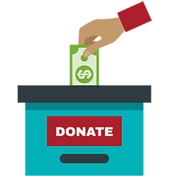 "An illustrated hand putting money into a blue box labeled ""donate."""