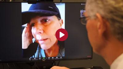 Nebraska Medicine doctor talks with a patient via telemedicine, using zoom technology
