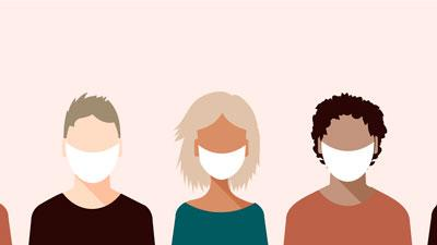 Three illustrated people wearing face masks.