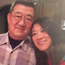 Anne Peterson with her dad, Ming Wang.